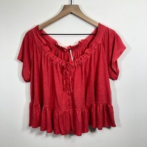 Free People Tops - Free People Red Camelia Drawstring Peasant Top